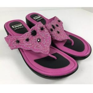 Jamie Sadock Leather Thong Sandals Flip Flops Bead